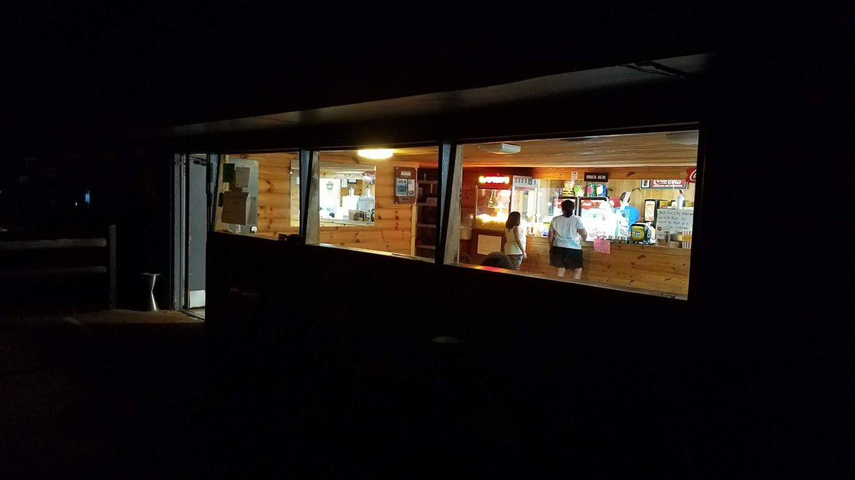 Swan Drive-In Concession Stand at night