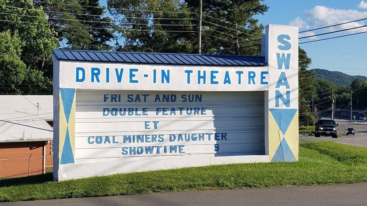 Swan Drive-In Movie Theatre sign in Blue Ridge, Georgia