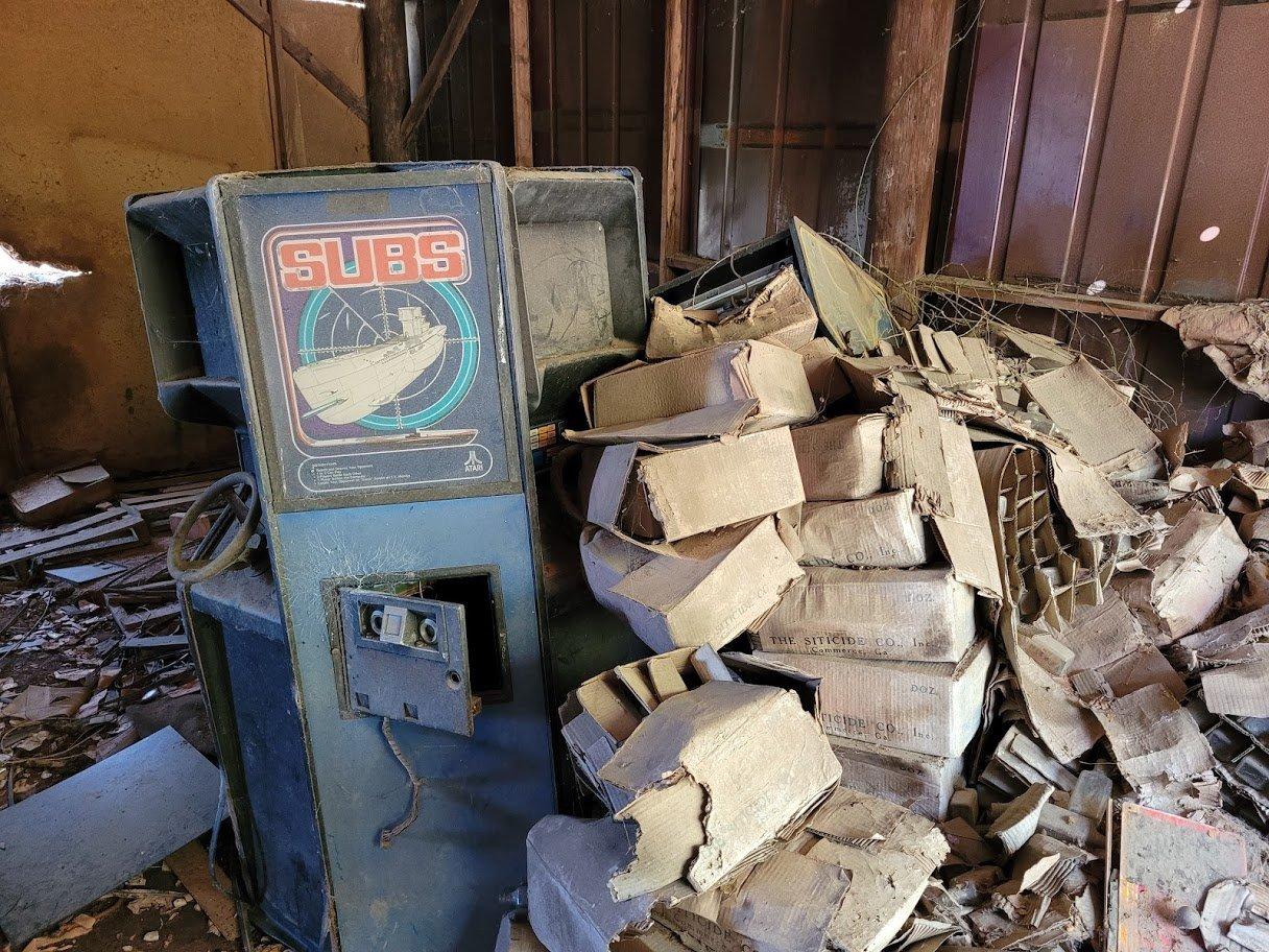 Atari Subs arcade game in an abandoned warehouse