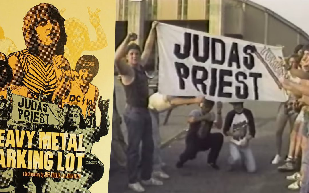 Heavy Metal Parking Lot Poster and movie still with fans holding a 'Judas Priest' sign
